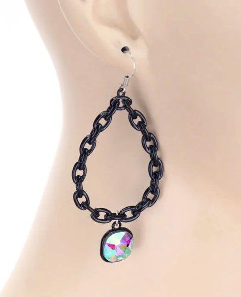 Black Chain Teardrop AB Earrings