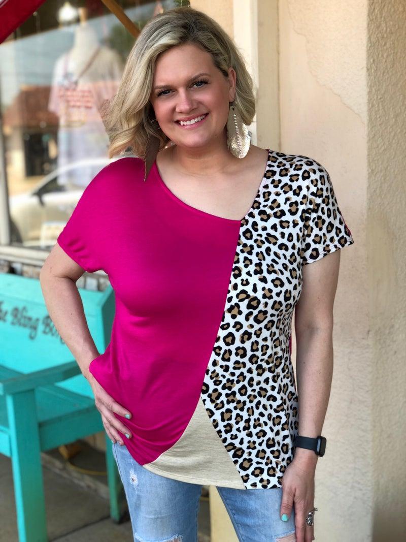 Leopard & Fuchsia Pink Side V-Neck Top