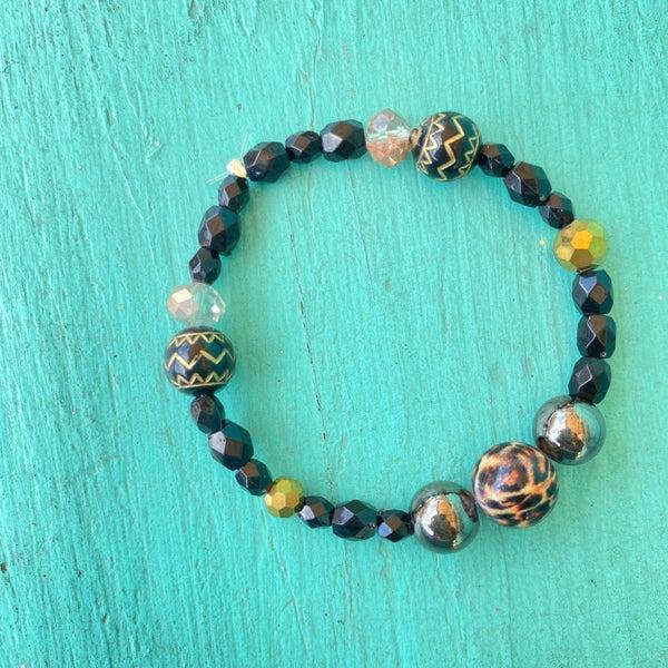 Bonnie Angela Black & Leopard Crystal  Stretch Bracelet #3