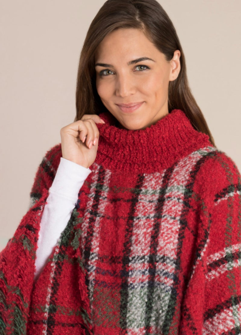 ONE SIZE - Red Holiday Plaid Cowl Neck Poncho