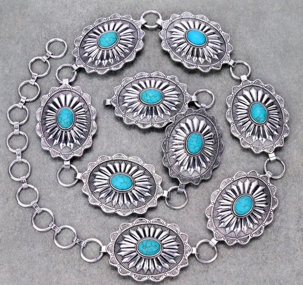 Silver Concho with Turquoise Stone Chain Belt S/M
