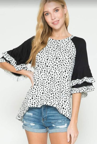 Black Speckled Ruffle Short Sleeve Tunic
