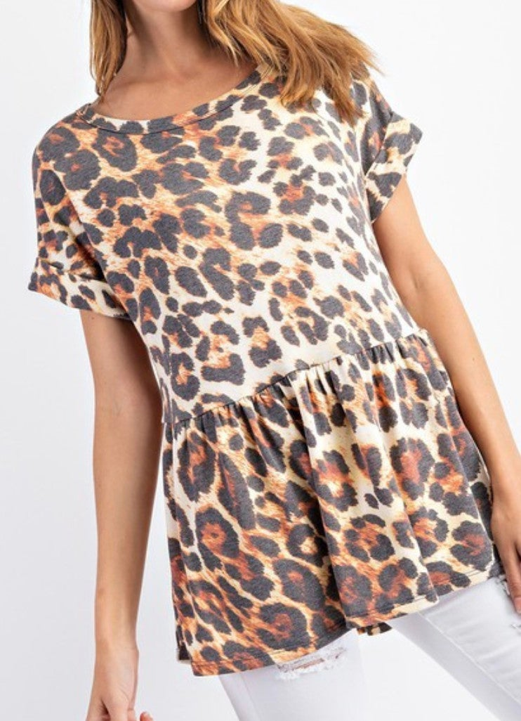 Brown Animal Print French Terry Baby Doll Top