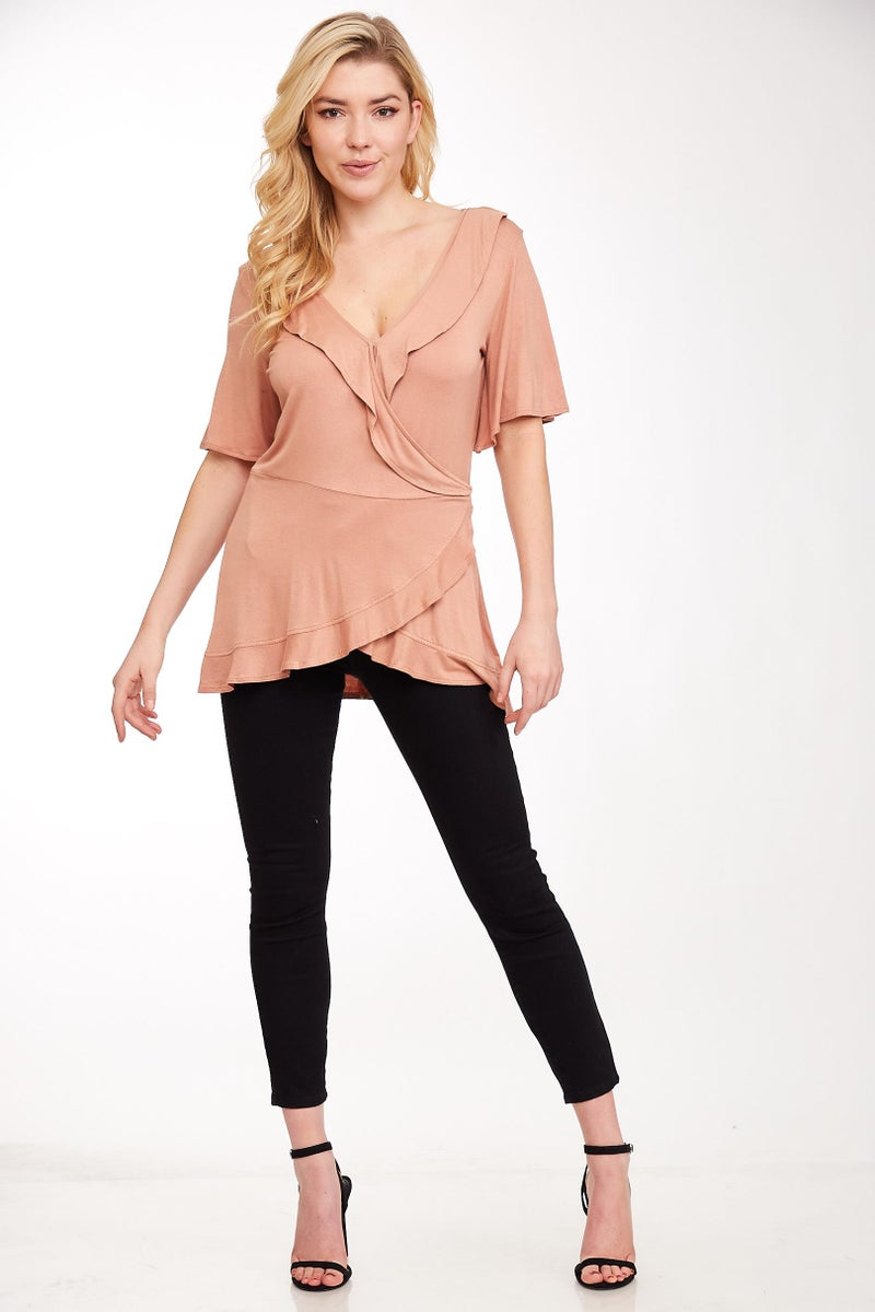 Taupe Ruffle Wrap V-Neck Top
