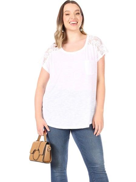 PLUS White Lace Back Short Sleeve Basic Top