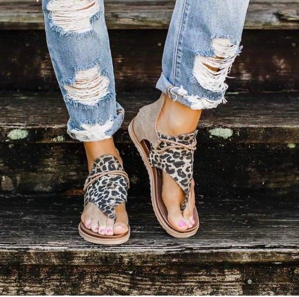 Sparta Tan Leopard Sandal