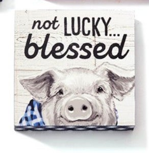"""Not Lucky Blessed Pig Wall Block Decor 5""""H X 5""""W"""
