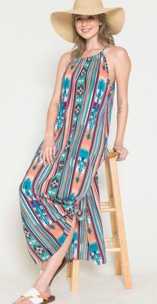 Multi Color Aztec Striped Maxi Dress