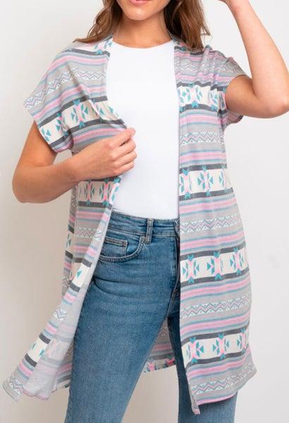 Vintage Grey Aztec Printed Short Sleeve Cardigan