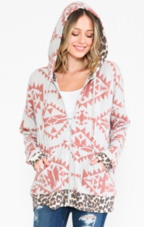 Rust Aztec Leopard Trim Super Soft Hoodie Jacket