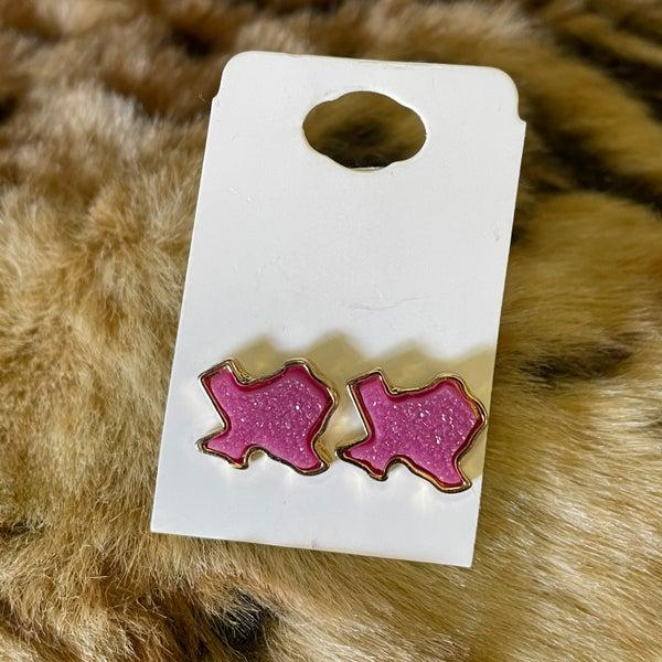 Dark Pink Druzy Texas Stud Earrings