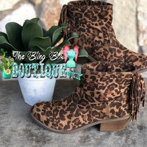 Veronica Leopard Bootie with Fringe and Side Zipper  Size
