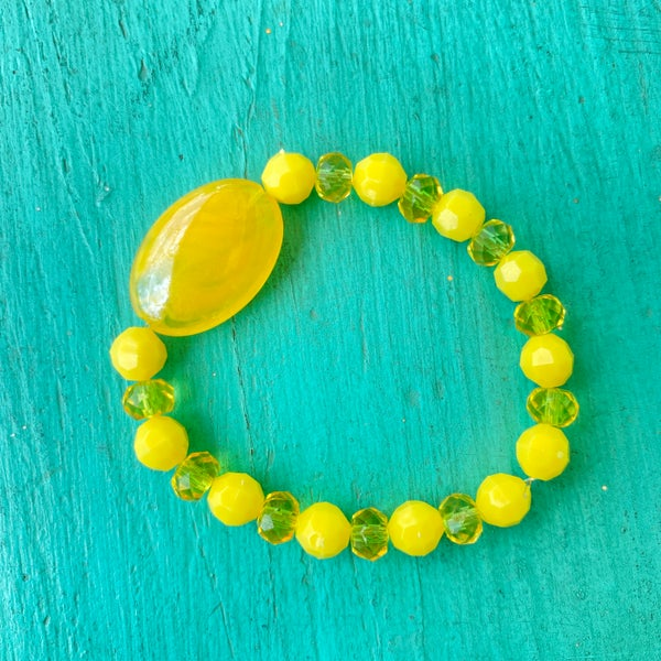 Bonnie Angela Yellow Crystal  Stretch Bracelet #1
