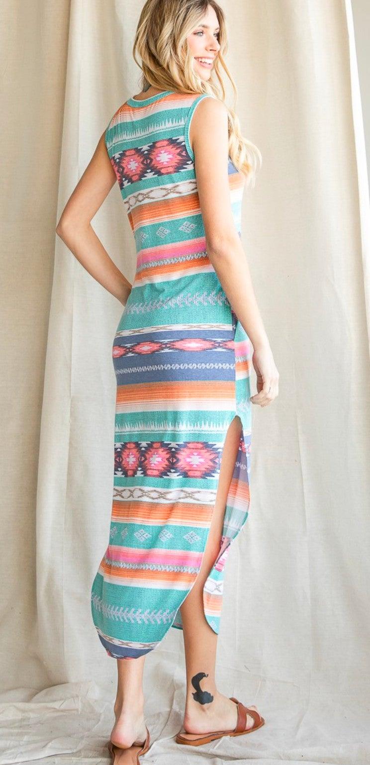 Casual Aztec Print Sleeveless Maxi Dress