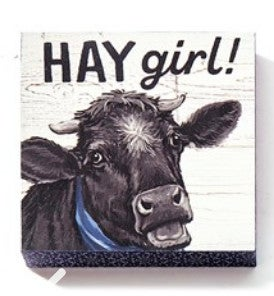 "Hay Girl Cow Wall Block Decor 5""H X 5""W"