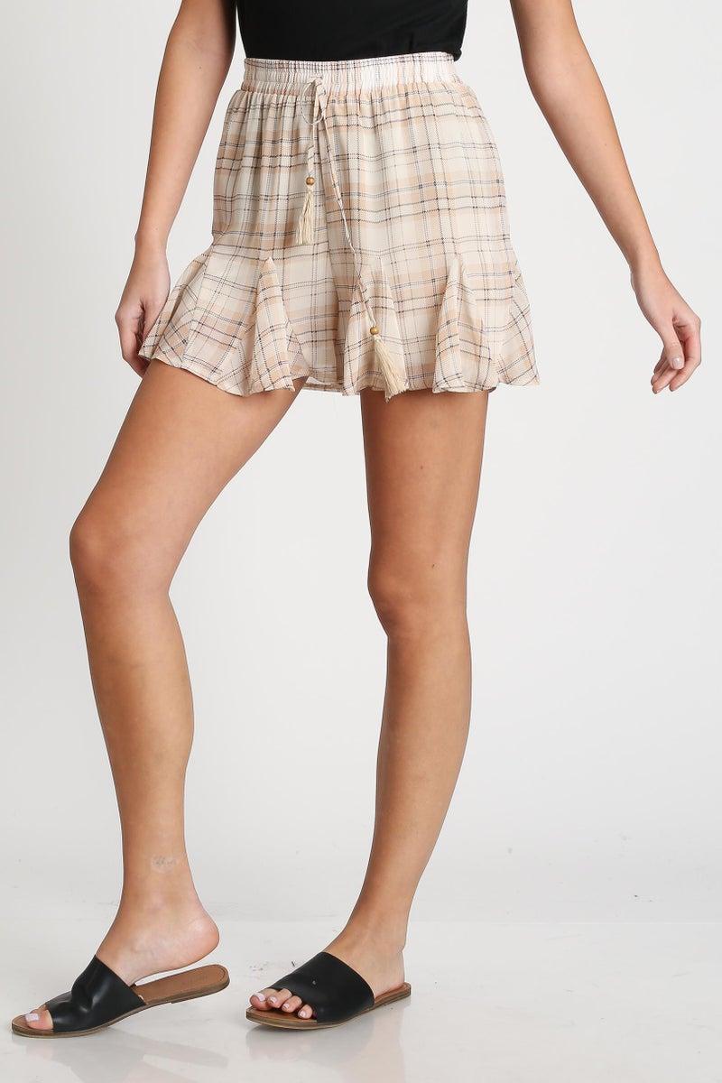 Peach Plaid Rippling Ruffled Shorts