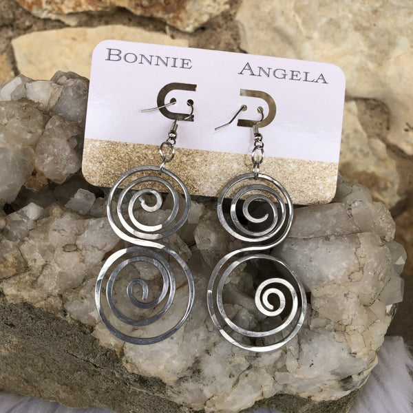 Bonnie Angela Silver Flat Swirl Titanium Earrings