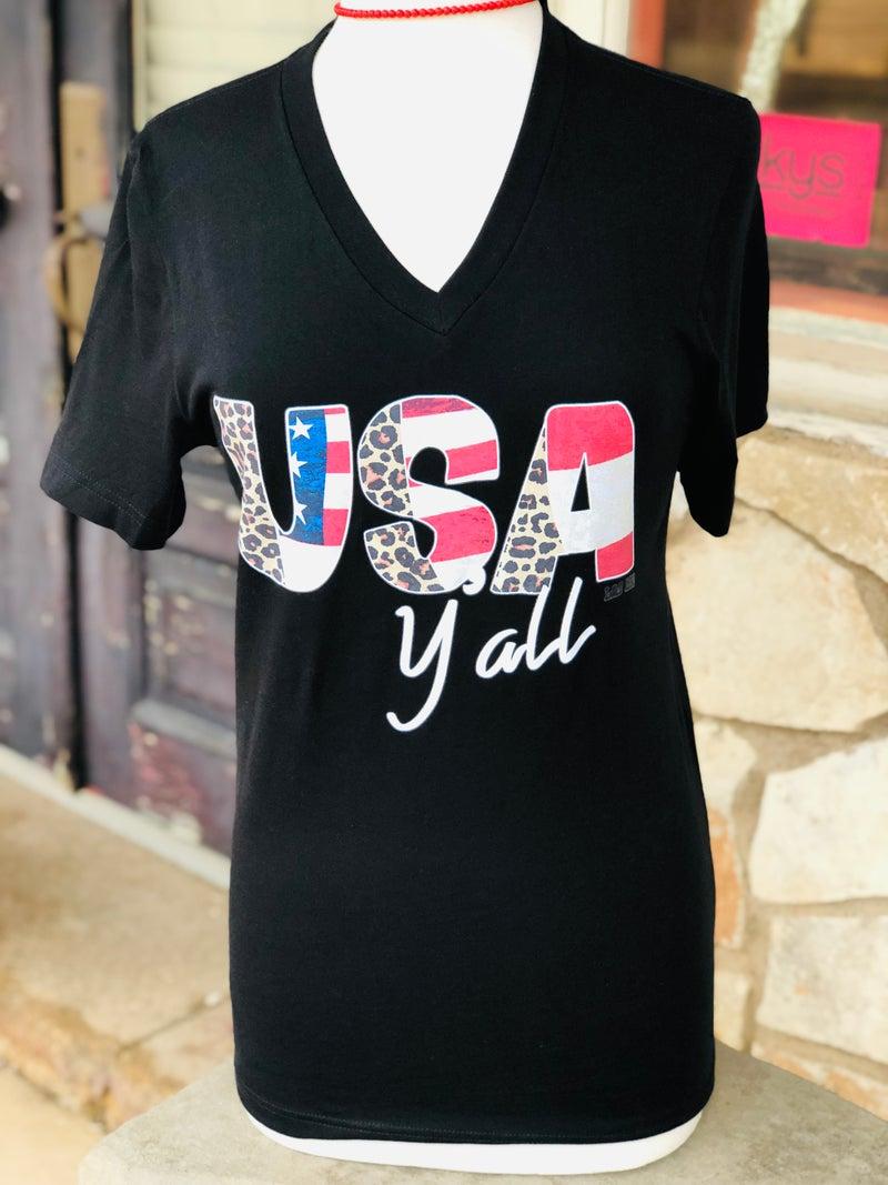 Black V-Neck USA Ya'll Leopard Print Tee