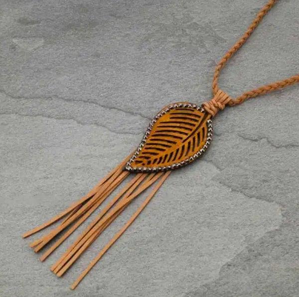 Light Brown Wooden Leaf Boho Braided Necklace