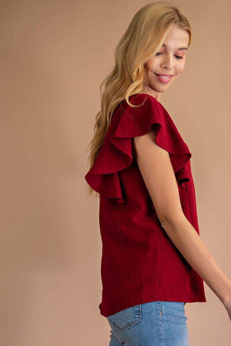 Burgundy Short Sleeve Ruffle Sleeve Blouse
