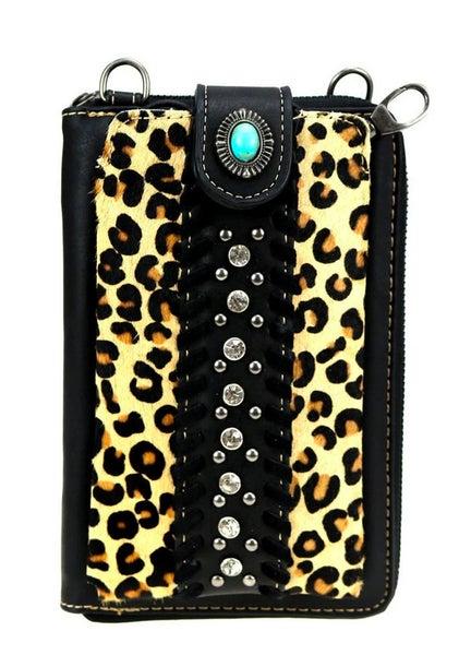 Montana West Black Leopard Phone Case Crossbody Wallet