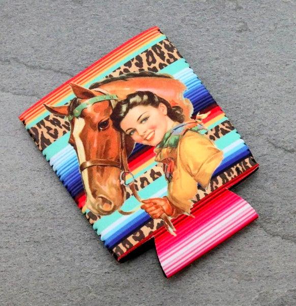 Vintage Cowgirl Serape Koozie