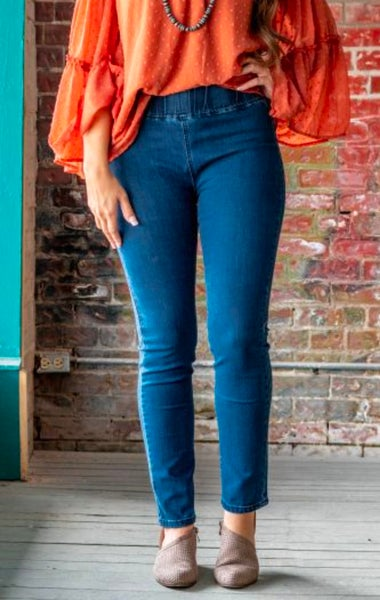 Mid Wash High Waisted Stretch Jeggings