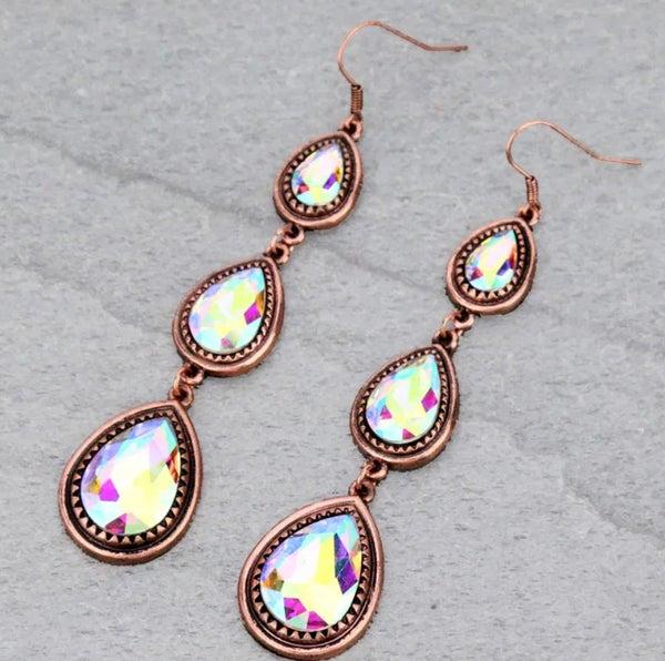 AB 3-Tier Copper Teardrop Earrings