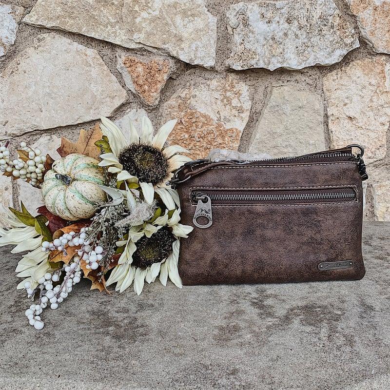 Dark Brown Turquoise Painted Hair-On Cowhide Crossbody Bag
