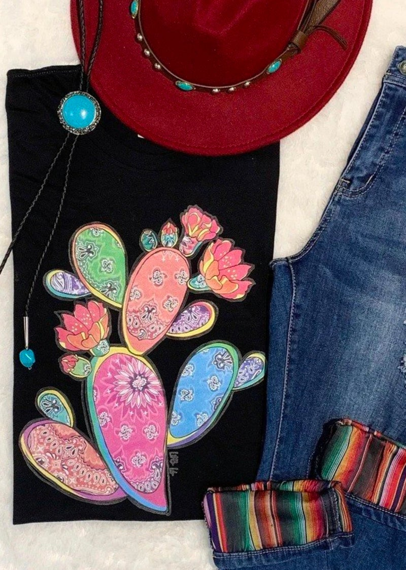 Black Rainbow Bandana Cactus T-Shirt