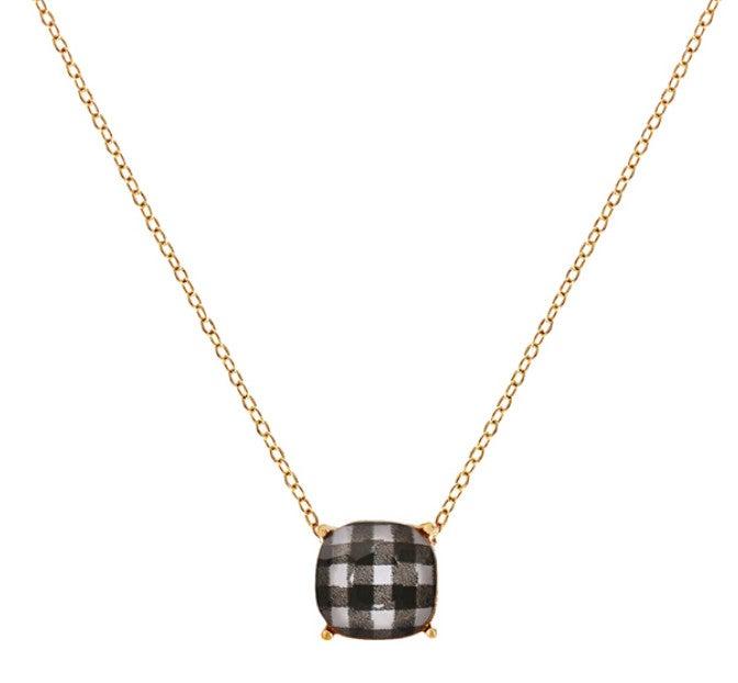 White Buffalo Plaid Crystal Choker Necklace