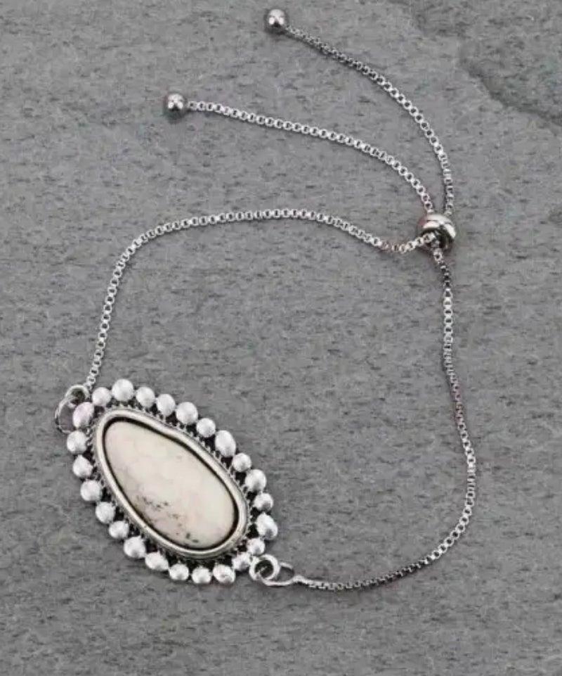 Natural White Stone Adjustable Bracelet