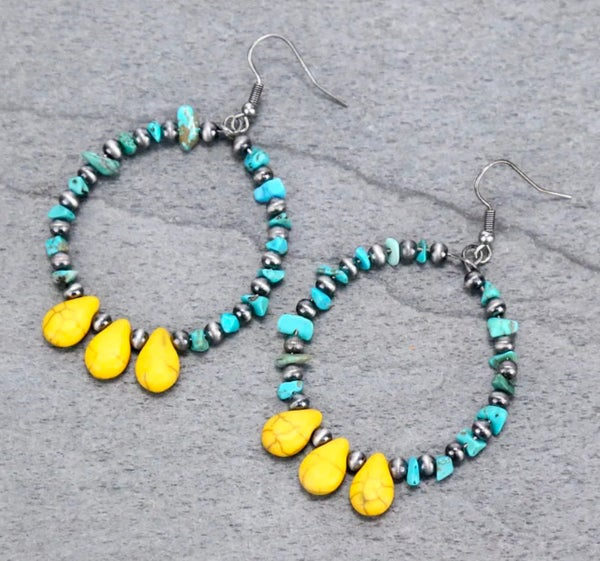 Turquoise Chip Hoop Earrings with Mustard Beads