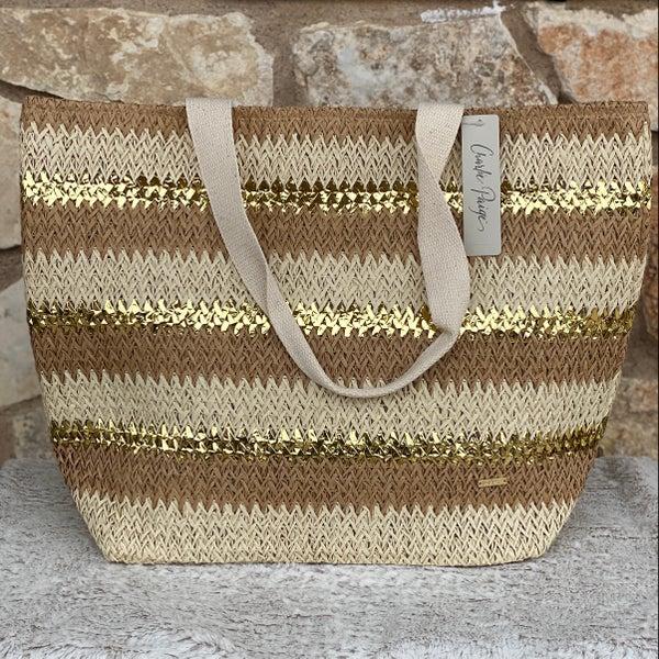 Natural Gold Mix Woven Tote Bag