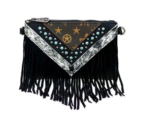 Black Monogram Patina Stud Fringe Crossbody Bag
