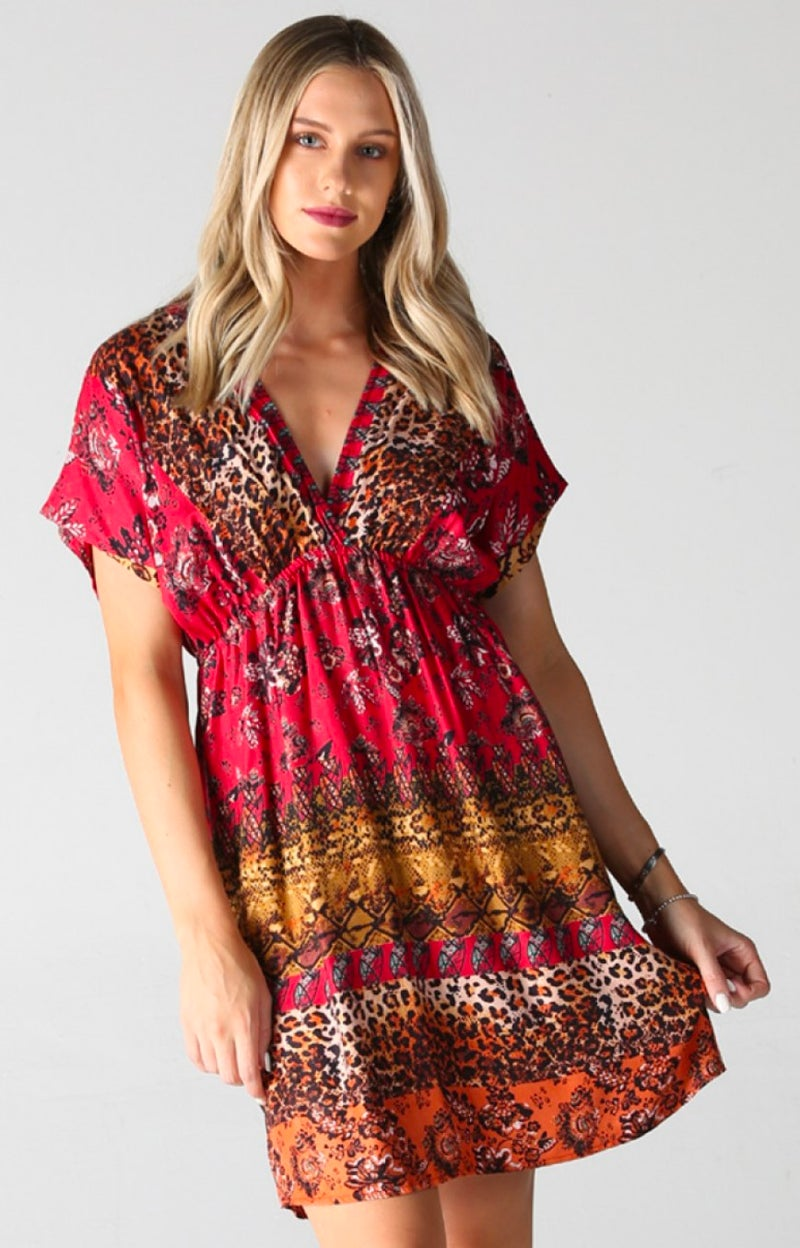 Leopard Red Boho Mix V-Neck Dress