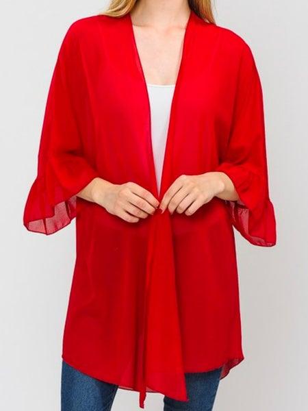 Red Ruffle Sleeve Sheer Solid Cardigan