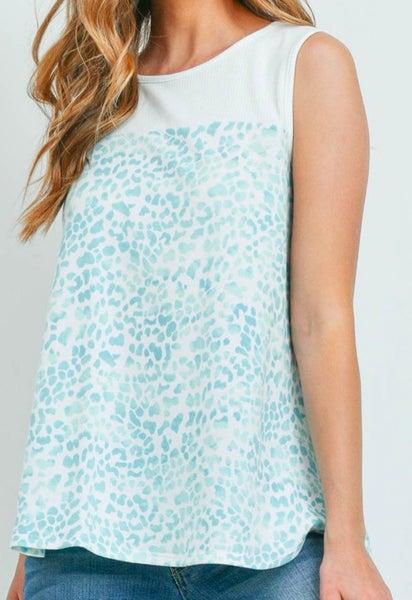 Blue Leopard Print Sleeveless Top