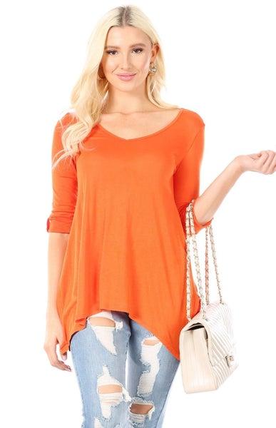 Orange Basic 3/4 Sleeve Side Slit Tunic
