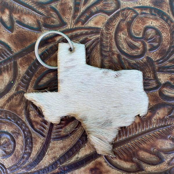 "Leather Cowhide 3"" x 3"" Texas Keychain #5"
