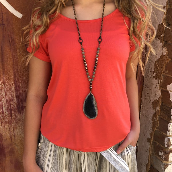 Coral High Low Short Sleeve Top