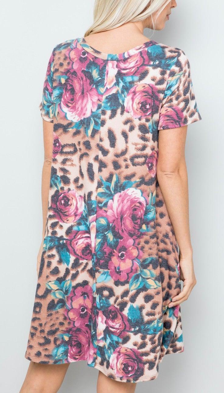 Leopard Floral Short Sleeve Dress With Pockets