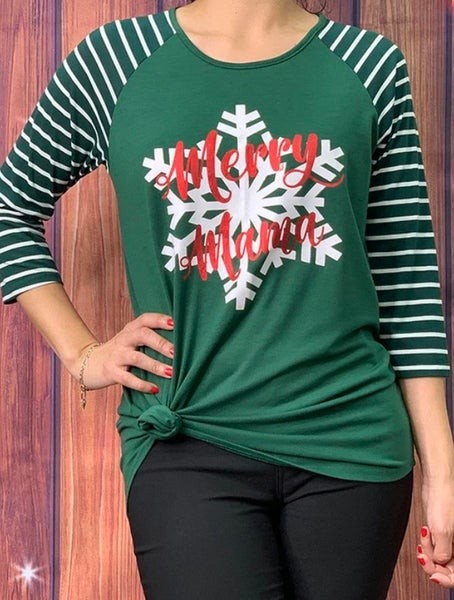 Green Striped Merry Mama Snowflake Top