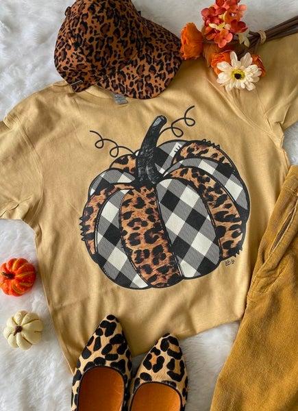 Buffalo Plaid & Leopard Pumpkin on Butter Tee