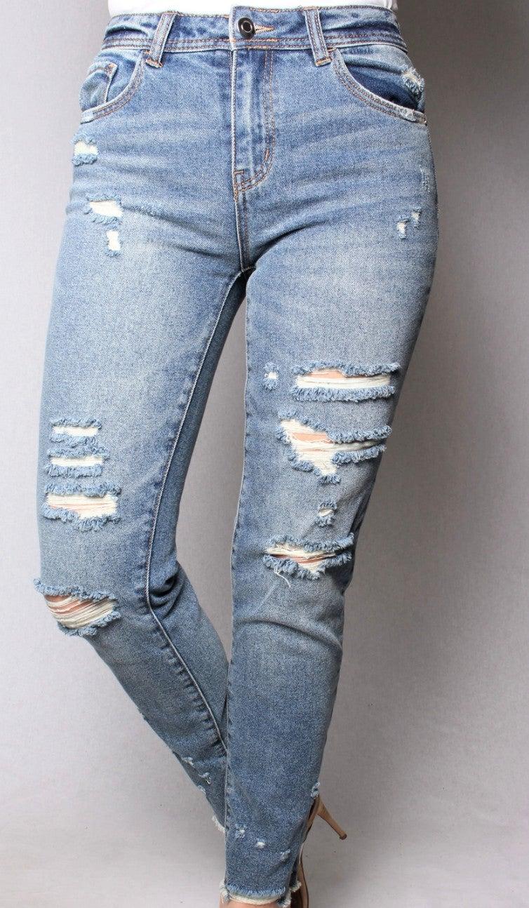 Medium Wash Distressed Skinny Jeans