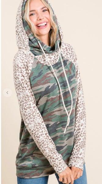 Camo & Leopard Print Double Hoodie