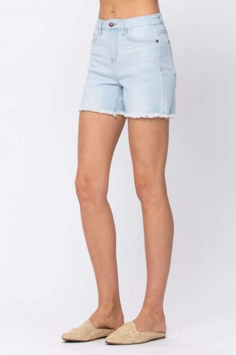 JUDY BLUE Light Blue Raw Hem Shorts