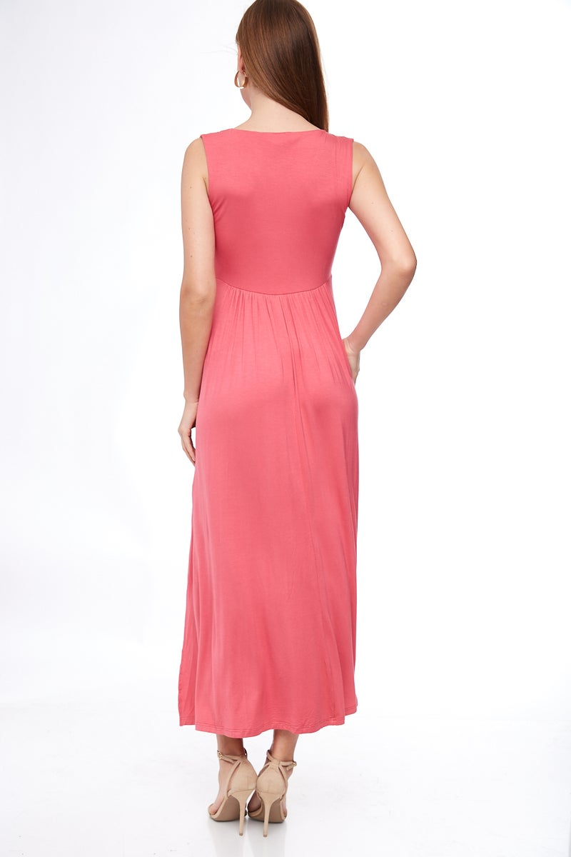 Coral Butterfly Tie Maxi Dress