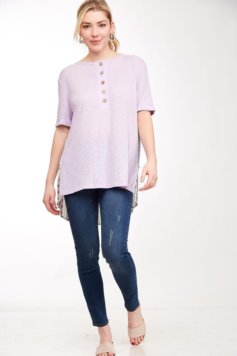 Lavender Top with Back Contrast Print