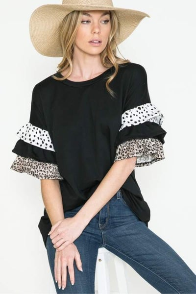 Black Speckled Leopard Ruffle Sleeve Top
